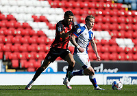 5th April 2021; Ewood Park, Blackburn, Lancashire, England; English Football League Championship Football, Blackburn Rovers versus Bournemouth; Lewis Holtby of Blackburn Rovers holds off the challenge of Dominic Solanke of Bournemouth