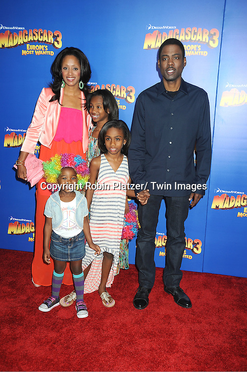 """Chris Rock and family attends the """"Madagascar 3:  Europe's Most Wanted""""  New York Premiere on June 7, 2012 at The Ziegfeld Theatre in New York City."""