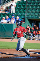 D.J. Burt (1) of the Idaho Falls Chukars at bat against the Ogden Raptors in Pioneer League action at Lindquist Field on June 23, 2015 in Ogden, Utah. Idaho Falls beat the Raptors 9-6. (Stephen Smith/Four Seam Images)