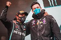 podium HAMILTON Lewis (gbr), Mercedes AMG F1 GP W11 Hybrid EQ Power+, WOLFF Toto (aut), Team Principal & CEO Mercedes AMG F1 GP, portrait during the Formula 1 DHL Turkish Grand Prix 2020, from November 13 to 15, 2020 on the  Intercity Istanbul Park, in Tuzla, near Istanbul, Turkey  <br /> Formula 1 GP Turchia 15/11/2020<br /> Foto DPPI/Panoramic/Insidefoto <br /> ITALY ONLY
