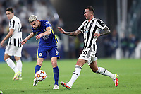 29th September 2021; Turin, Italy;  Jorge Luiz Jorginho of Chelsea Fc clears the ball during the Uefa Champions League;  Group H match between Juventus Fc and Chelsea Fc at Allianz Stadium
