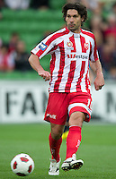 MELBOURNE, AUSTRALIA - DECEMBER 11: Wayne Srhoj of the Heart passes the ball during the round 18 A-League match between the Melbourne Heart and Melbourne Victory at AAMI Park on December 11, 2010 in Melbourne, Australia. (Photo by Sydney Low / Asterisk Images)
