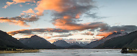 Sunset over Dart River with Southern Alps in background, UNESCO World Heritage Area, New Zealand, NZ
