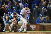 Chicago Cubs Anthony Rizzo (44) hits a double in the sixth inning during Game 4 of the Major League Baseball World Series against the Cleveland Indians on October 29, 2016 at Wrigley Field in Chicago, Illinois.  (Mike Janes/Four Seam Images)