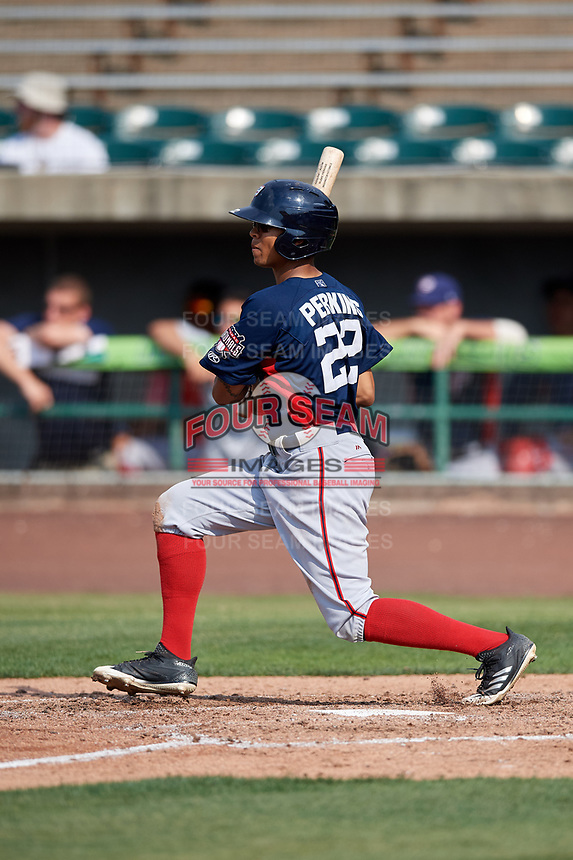 Potomac Nationals center fielder Blake Perkins (22) follows through on a swing during the first game of a doubleheader against the Lynchburg Hillcats on June 9, 2018 at Calvin Falwell Field in Lynchburg, Virginia.  Lynchburg defeated Potomac 5-3.  (Mike Janes/Four Seam Images)