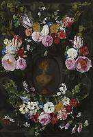 Festoon of flowers at a bust of Flora - by Jan Philip van Thielen, 1665