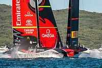 13th March 2021; Waitemata Harbour, Auckland, New Zealand;  Emirates Team New Zealand and Luna Rossa Prada Pirelli Team in pre-start for race six on day three of the America's Cup presented by Prada.