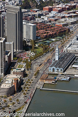 aerial photograph of the Embarcadero Plaza, the Ferry Building, San Francisco, California