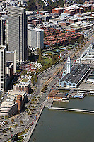 aerial photograph of the Embarcadero Plaza, the Ferry Building, San Francisco, California