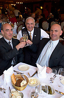 May21 2003, Montreal, Quebec, Canada. <br /> <br /> Moishe's Owners Larry Lighter (L), Leonard Lighter (R) and Frank, a waiter there for 47 years, celebrate Moishe's 65th anniversary, May 21, in Montreal, CANADA.<br /> <br /> Located on Saint-Laurent Boulevard, Moishe's steakhouse is visited by many movie stars and celebrities when they come to Montreal and is renowned for it US beef steaks.<br /> <br /> Mandatory Credit: Photo by Pierre Roussel- Images Distribution. (©) Copyright 2003 by Pierre Roussel <br /> <br /> NOTE : <br />  Nikon D-1 jpeg opened with Qimage icc profile, saved in Adobe 1998 RGB<br /> .Uncompressed  Original  size  file availble on request.