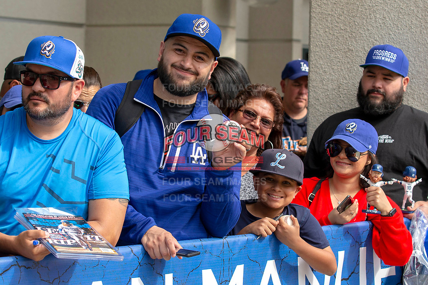 Rancho Cucamonga Quakes fans line up for autographs after the game between the Rancho Cucamonga Quakes and the Visalia Rawhide at LoanMart Field on May 13, 2018 in Rancho Cucamonga, California. The Quakes defeated the Rawhide 3-2.  (Donn Parris/Four Seam Images)