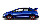 Car Driver side profile view of a 2015 Honda Civic Type-R 5 Door Hatchback Side View