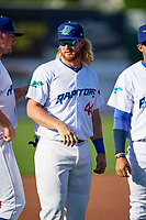 Garrett Hope (44) of the Ogden Raptors before the game against the Orem Owlz in Pioneer League action at Lindquist Field on June 21, 2017 in Ogden, Utah. The Owlz defeated the Raptors 16-5. This was Opening Night at home for the Raptors.  (Stephen Smith/Four Seam Images)