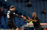 Calcio, Tim Cup: Roma vs Empoli. Ottavi di finale a gara unica. Roma, stadio Olimpico, 20 gennaio 2015.<br /> Roma's Daniele De Rossi, left, celebrates with teammate Maicon after scoring on a penalty kick the winning goal during the extra-time the Italian Cup round of 16 football match between Roma and Empoli at Rome's Olympic stadium, 20 January 2015. Roma won 2-1 to join the quarterfinal.<br /> UPDATE IMAGES PRESS/Riccardo De Luca