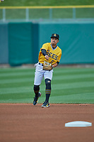 Kean Wong (5) of the Salt Lake Bees during the game against the Tacoma Rainiers at Smith's Ballpark on May 16, 2021 in Salt Lake City, Utah. The Bees defeated the Rainiers 8-7. (Stephen Smith/Four Seam Images)