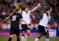 Sydney Leroux, Rebekah Stott. The USWNT tied New Zealand, 1-1, at an international friendly at Crew Stadium in Columbus, OH.