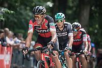 Greg Van Avermaet (BEL/BMC) up the Kapelmuur.  <br /> <br /> Binckbank Tour 2017 (UCI World Tour)<br /> Stage 7: Essen (BE) > Geraardsbergen (BE) 191km