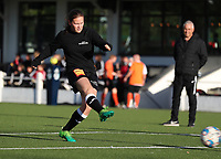 Aalst's Valentine Hannecart (8) shoots the ball to the gaol during the warm up before a female soccer game between Oud Heverlee Leuven and Eendracht Aalst Ladies  on the third matchday of the 2020 - 2021 season of Belgian Womens Super League , Sunday 4 th of October 2020  in Heverlee , Belgium . PHOTO SPORTPIX.BE | SPP | SEVIL OKTEM