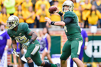 Baylor quarterback Bryce Petty (14) throws a pass during an NCAA football game, Saturday, October 11, 2014 in Waco, Tex. Baylor defeated TCU 61-58 to remain undefeated in BIG 12 conference. (Mo Khursheed/TFV Media via AP Images)