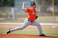 Miami Marlins pitcher Marcus Crescentini (28) during a Minor League Spring Training game against the St. Louis Cardinals on March 26, 2018 at the Roger Dean Stadium Complex in Jupiter, Florida.  (Mike Janes/Four Seam Images)