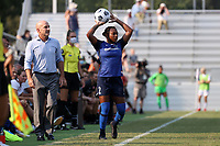 CARY, NC - SEPTEMBER 12: Taylor Smith #2 of the North Carolina Courage takes a throw-in during a game between Portland Thorns FC and North Carolina Courage at Sahlen's Stadium at WakeMed Soccer Park on September 12, 2021 in Cary, North Carolina.