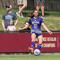 NEWTON, MA - SEPTEMBER 12: Caroline Harkins #17 of Holy Cross passes the ball during a game between Holy Cross and Boston College at Newton Campus Soccer Field on September 12, 2021 in Newton, Massachusetts.