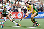 GER - Mannheim, Germany, May 24: During the U16 Girls match between Australia (green) and Germany (white) during the international witsun tournament on May 24, 2015 at Mannheimer HC in Mannheim, Germany. Final score 0-6 (0-3). (Photo by Dirk Markgraf / www.265-images.com) *** Local caption ***