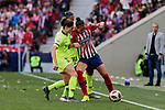 Atletico de Madrid's Jennifer Hermoso and FC Barcelona's Marta Torrejon (L) and Andressa Alver (R) during Liga Iberdrola match between Atletico de Madrid and FC Barcelona at Wanda Metropolitano Stadium in Madrid, Spain. March 17, 2019. (ALTERPHOTOS/A. Perez Meca)