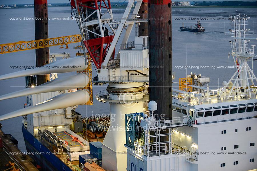GERMANY Bremerhaven, shipping of rotor blades for RWE offshore wind park in the North Sea / DEUTSCHLAND Bremerhaven, Verladung von Rotorblaettern fuer Windkraftanlagen fuer einen RWE off-shore Windpark in der Nordsee
