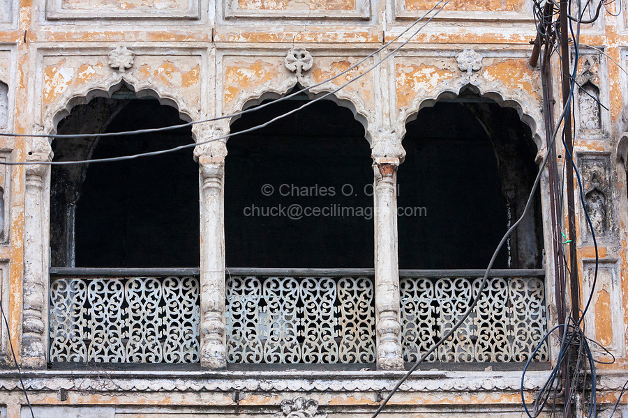 India, Dehradun.  Traditional Architecture, with Arches, Columns, and Lattice-work.