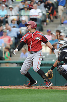 Altoona Curve infielder Stetson Allie (39) hits a home run during game against the Trenton Thunder at ARM & HAMMER Park on August 6, 2014 in Trenton, NJ.  Trenton defeated Altoona 7-3.  (Tomasso DeRosa/Four Seam Images)