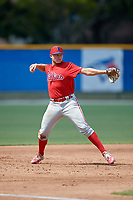 Philadelphia Phillies third baseman Nate Fassnacht (11) throws to first base during an Instructional League game against the Toronto Blue Jays on September 27, 2019 at Englebert Complex in Dunedin, Florida.  (Mike Janes/Four Seam Images)