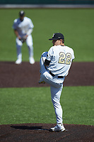 Vanderbilt Commodores starting pitcher Jack Leiter (22) in action against the South Carolina Gamecocks at Hawkins Field on March 20, 2021 in Nashville, Tennessee. (Brian Westerholt/Four Seam Images)