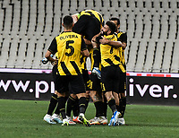 Players of AEK's celebrate the first goal of their team during of the UEFA Europa League play-off, 1st leg, soccer match between AEK Athens FC and Trabzonspor at the OAKA Spyros Louis Stadium in Athens, Greece on August 22, 2019.