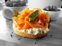 Smoked salmon cream cheese bagel