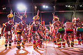 Kamayura warriors perform a traditional dance at the International Indigenous Games, in Brazil. 21st October 2015