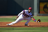 Winston-Salem Rayados third baseman Yeyson Yrizarri (2) fields a ground ball during the game against the Lynchburg Hillcats at BB&T Ballpark on June 23, 2019 in Winston-Salem, North Carolina. The Hillcats defeated the Rayados 12-9 in 11 innings. (Brian Westerholt/Four Seam Images)