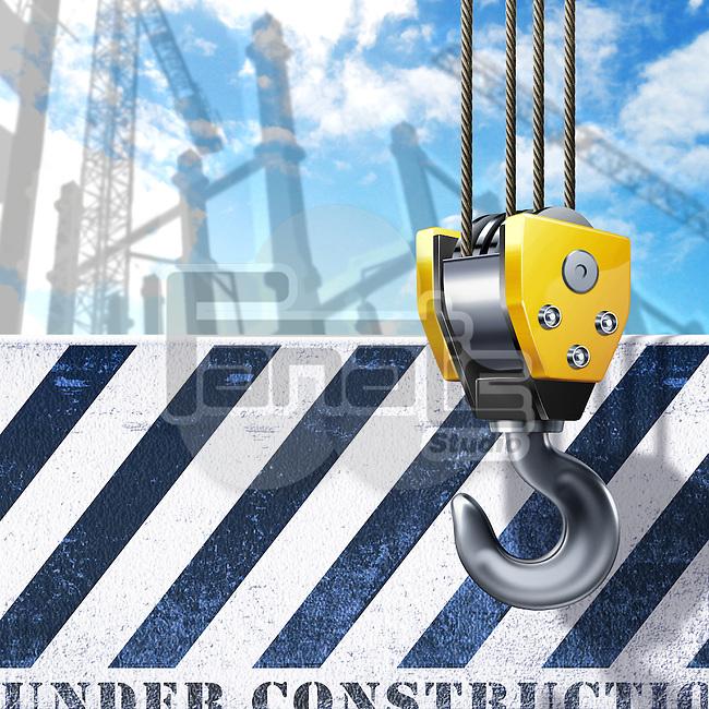 Illustration of crane's hook hanging by striped sign
