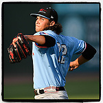 Starting pitcher Tyler Phillips (32) of the Hickory Crawdads pitched seven innings to earn his 10th win of the season in a game against the Greenville Drive on Monday, August 20, 2018, at Fluor Field at the West End in Greenville, South Carolina. Hickory won, 11-2. (Tom Priddy/Four Seam Images)
