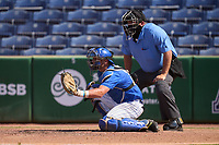 Memphis Tigers catcher Hunter Goodman (35) and umpire Shane Metheny during an American Athletic Conference Baseball Championship game against the UCF Knights on May 27, 2021 at BayCare Ballpark in Clearwater, Florida.  (Mike Janes/Four Seam Images)