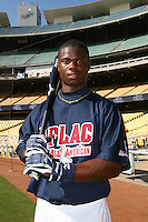 August 9 2008: Kyrell Hudson participates in the Aflac All American baseball game for incoming high school seniors at Dodger Stadium in Los Angeles,CA.  Photo by Larry Goren/Four Seam Images