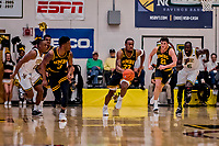 16 March 2019: UMBC Retriever Forward Arkel Lamar, a Junior from Bridgeport, CT, in first half action against the University of Vermont Catamounts, in the America East Championship Game at Patrick Gymnasium in Burlington, Vermont. The Catamounts defeated the Retrievers 66-49 in the Championship Game. Mandatory Credit: Ed Wolfstein Photo *** RAW (NEF) Image File Available ***