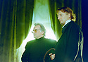 Richard Eyre on the set of The Judas Kiss by David Hare where he is directing. With Peter Capaldi as Robert Ross, Liam Neeson as Oscar Wilde,  Tom Hollander as Lord Alfred Douglas. Performed at The Almeida Theatre in London in 1998  pic Geraint Lewis EDITORIAL USE ONLY