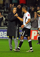ATTENTION SPORTS PICTURE DESK<br /> Pictured L-R: Paulo Sousa manager for Swansea with Ashley Williams<br /> Re: Coca Cola Championship, Swansea City Football Club v Plymouth Argyle at the Liberty Stadium, Swansea, south Wales. Tuesday 08 December 2009