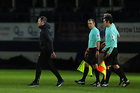 23rd February 2021; Kenilworth Road, Luton, Bedfordshire, England; English Football League Championship Football, Luton Town versus Millwall; A dejected Luton Town Manager Nathan Jones leaves the pitch arguing with the match officials