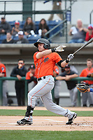 Zach Gibbons (5) of the Inland Empire 66ers bats against the Rancho Cucamonga Quakes at LoanMart Field on May 7, 2017 in Rancho Cucamonga, California. Rancho Cucamonga defeated Inland Empire, 6-0. (Larry Goren/Four Seam Images)