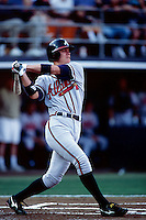 Chipper Jones of the Atlanta Braves participates in a baseball game at Qualcomm Stadium during the1998 season in San Diego, California. (Larry Goren/Four Seam Images)