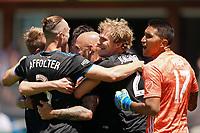 SAN JOSE, CA - JUNE 8: Magnus Eriksson #7 celebrates scoring with teammates during a game between FC Dallas and San Jose Earthquakes at Avaya Stadium on June 8, 2019 in San Jose, California.