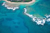 Tunnels Beach from the air. Kauai, Hawaii.