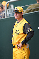 Jacksonville Suns  manager Andy Barkett (17) during a game against the Pensacola Blue Wahoos on April 20, 2014 at Bragan Field in Jacksonville, Florida.  Jacksonville defeated Pensacola 5-4.  (Mike Janes/Four Seam Images)